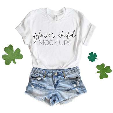 Bella Canvas 3001 White St Patrick's Day Mockup - flowerchildmockups