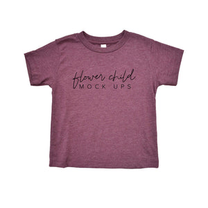 Bella Canvas 3001T Heather Maroon Mockup - Youth Toddler Mockup