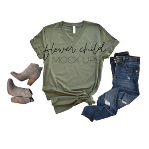Bella Canvas 3005 Military Green Side Knot Jeans Booties - flowerchildmockups