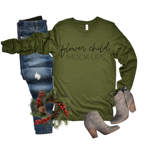Bella Canvas 3501 Olive Scrunch Christmas Mockup - flowerchildmockups