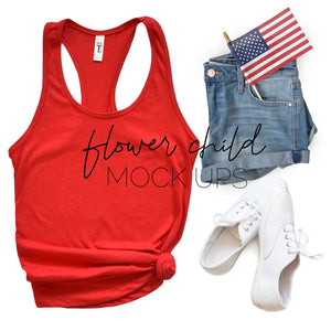 4th of July Mockup Next Level 1533 Red - flowerchildmockups
