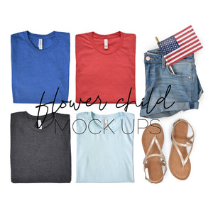 Bella Canvas 3001 4th of July Mockup - flowerchildmockups