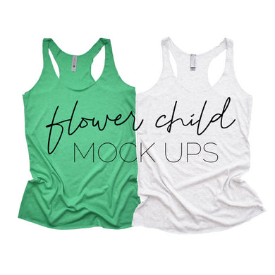 Next Level 6733 Envy Green White Duo Flat - flowerchildmockups