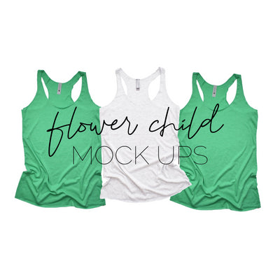 Next Level 6733 Envy Green White Trio Flat - flowerchildmockups