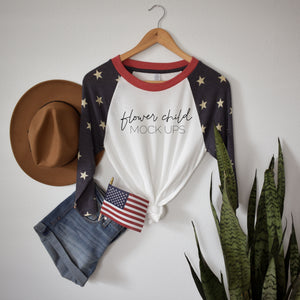 Alternative Apparel 2089 Raglan Mockup 4th of July Moody Boho - flowerchildmockups