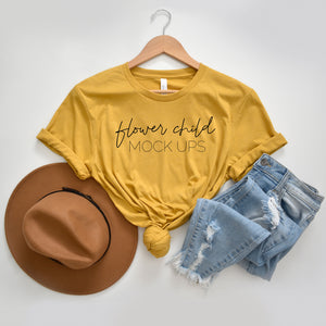 Boho Bella Canvas 3001 Heather Mustard Mockup - flowerchildmockups
