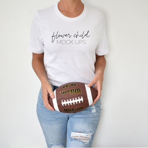 Bella Canvas 3001 White Football Mockup - flowerchildmockups