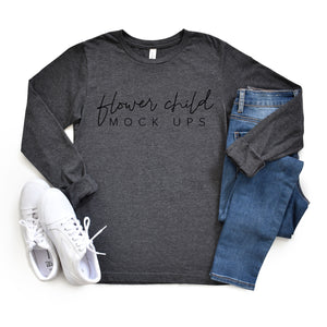 Bella Canvas 3501 Dark Gray Heather Mockup