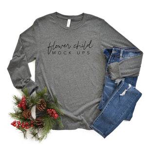 Bella Canvas 3501 Deep Heather Christmas Flatlay