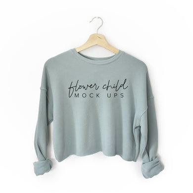 Bella Canvas 7503 Mockup Dusty Blue - Cropped Crew Fleece
