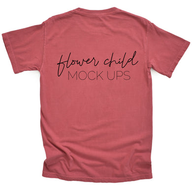Comfort Colors Mockup 1717 Crimson BACK of shirt - flowerchildmockups