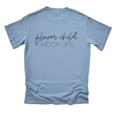 Comfort Colors Mockup 1717 Washed Denim Back of Shirt - flowerchildmockups