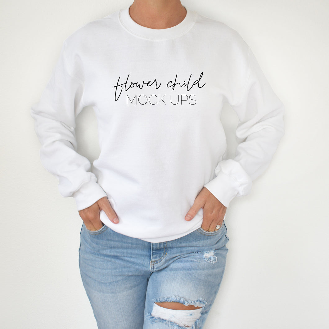Gildan 180 White Mockup Model - flowerchildmockups