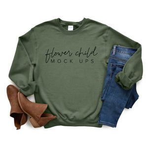 Gildan 18000 Military Green Mockup Fall