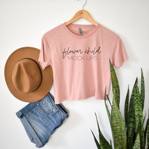Boho Mockup Next Level 5080 Crop Top Desert Pink - flowerchildmockups