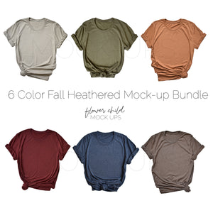 Bella Canvas 3001 Heathered Fall Colors Mockup Bundle - flowerchildmockups