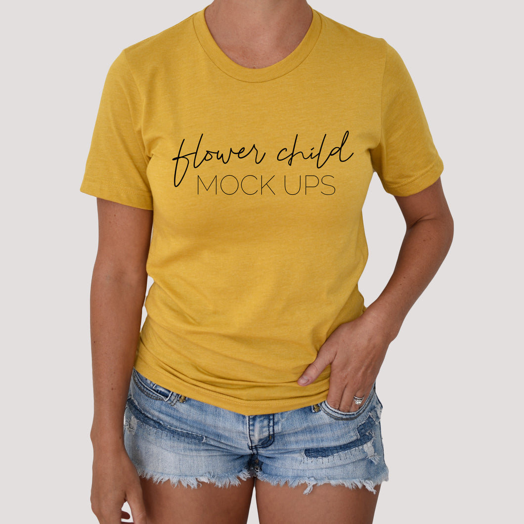 Model Mockup Bella Canvas 3001 Heather Mustard - flowerchildmockups