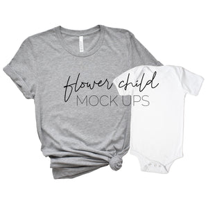 Bella Canvas 3001 Athletic Heather Mommy and Me - flowerchildmockups