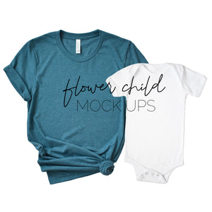 Bella Canvas 3001 Heather Deep Teal Mommy and Me Mockup - flowerchildmockups