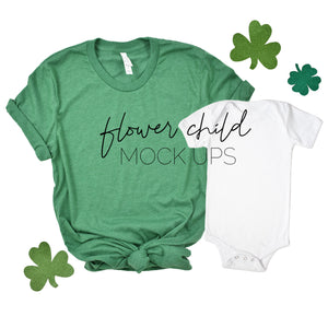 Bella Canvas 3001 Heather Kelly St Patty's Day Mommy and Me - flowerchildmockups