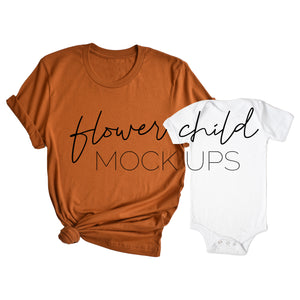 Mommy and Me BC 3001 Autumn, White Onesie - flowerchildmockups