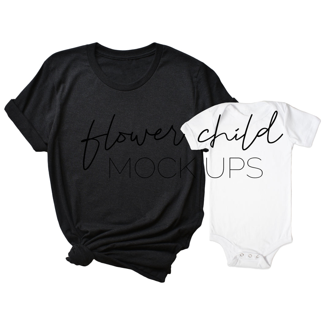 Mommy and Me Bella Canvas 3001 Black Heather, White Onesie - flowerchildmockups