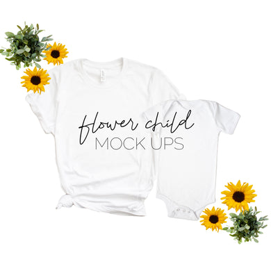 Bella Canvas 3001 White Mommy and Me Onesie Floral Mockup - flowerchildmockups