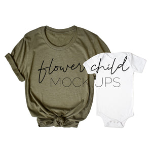 Mommy and Me Bella Canvas 3001 Heather Olive, White Onesie - flowerchildmockups