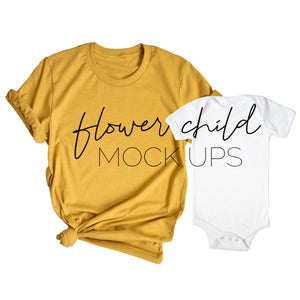 Mommy and Me BC 3001 Mustard, White Onesie - flowerchildmockups