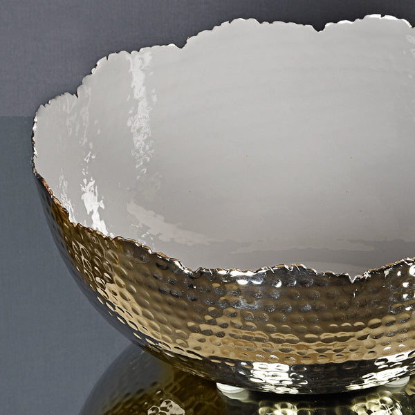 Grey Metal-Enamel Hammered Bowl