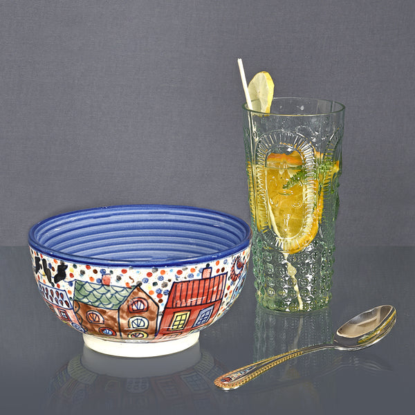 Hand Painted Ceramic Serving Bowl – Medium