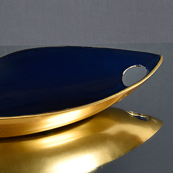 Decorative Metal Enamel Leaf Platter - Blue