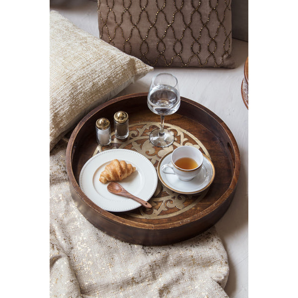 Round Wooden Brunch Tray with Metal Inlay