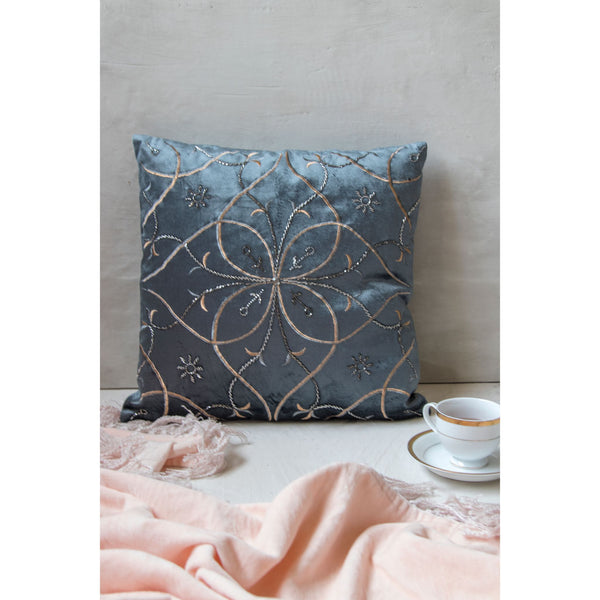 Embroidered Square Cushion – Midnight Blue(Including Filler)