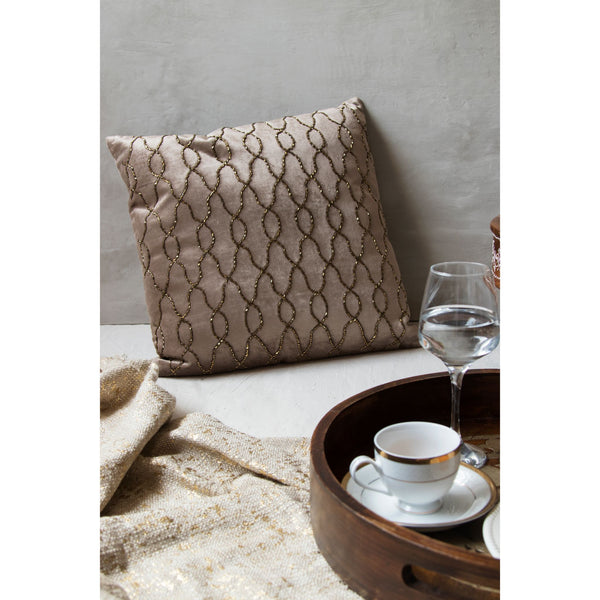 Embroidered Square Cushion – Chocolate Brown(Including Filler)