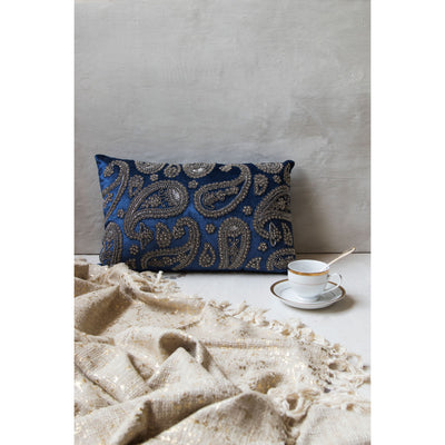 Embroidered Regal Duck Cushion– Royal Blue(Including Filler)
