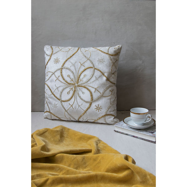 White and Gold Embroidered Square Cushion (Including Filler)