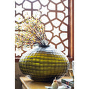 Olive Green Cube Cut Glass Vase – Large