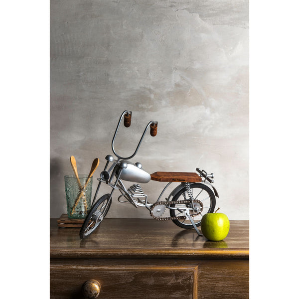 Decorative Vintage Large Metal Motorcycle - Silver