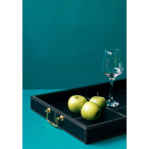 Classic Leather Serving Tray with Golden Handle-Black