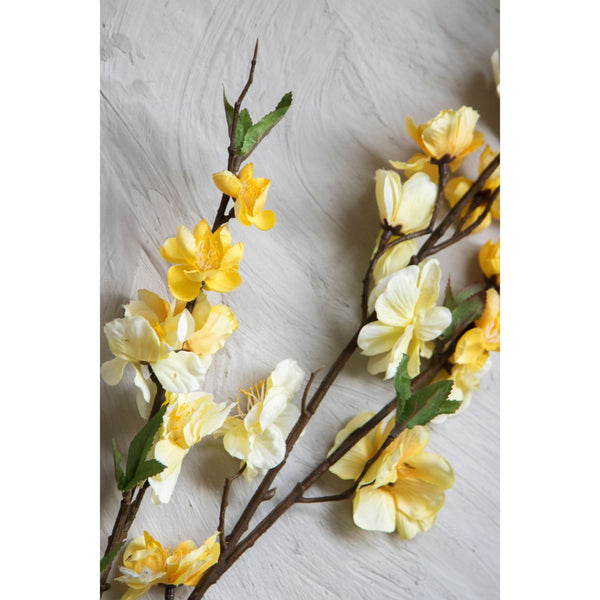 Imitation Magnolia Flower Stick – Yellow ( Set of 2 Sticks )