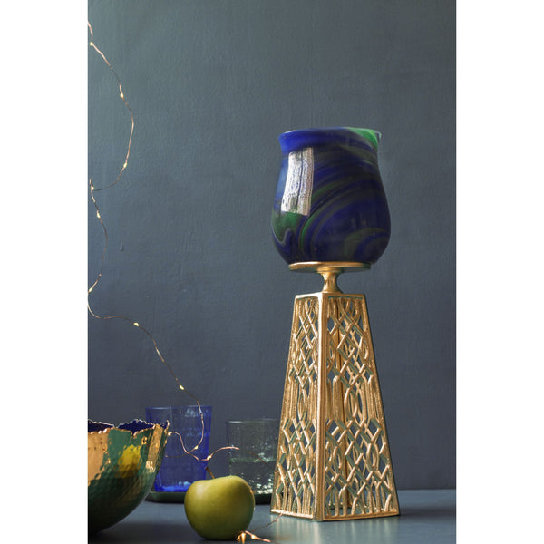 Blue Onyx Glass and Metal Ornamental Pillar Candle Holder