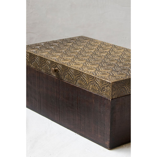 Multipurpose wooden storage box with metal inlay sheet