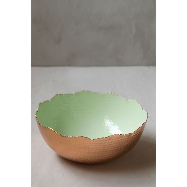 Pastel Green Metal-Enamel Hammered Bowl