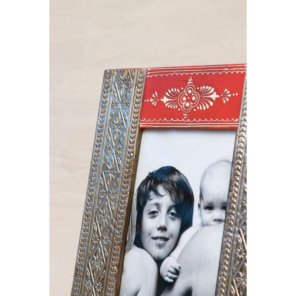 Multicolour Hand-painted Wooden Photoframe with metal Detailing