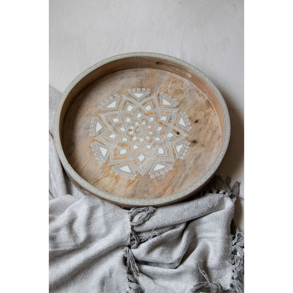 Wooden tray round hand painted