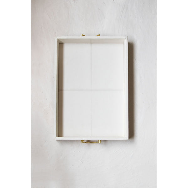 Trendy Leather Serving Tray with Golden Handle-White