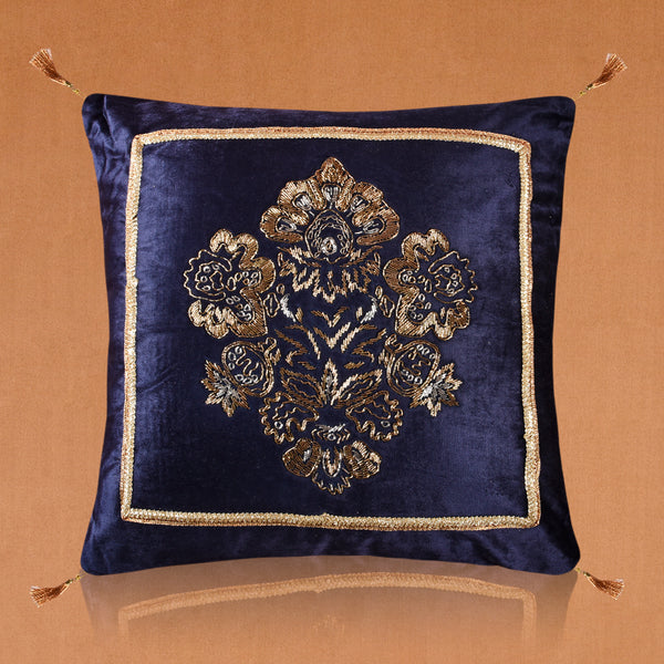 Royal Blue Embroidered Square Cushion (Including Filler)