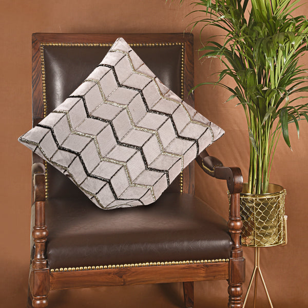 Embroidered Square Cushion - Silver (Including Filler)