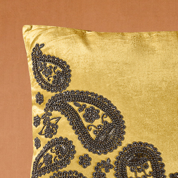 Embroidered Square Cushion Half Side Ambi – Golden Yellow (Including Filler)